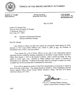 In May 2018, Bronx District Attorney denies that the office maintains a list of police officer adverse credibility.