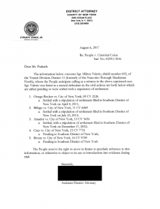 Disclosure of letters sent to defense attorney by the Manhattan District Attorney from 2015 to 2018 regarding police adverse credibility.