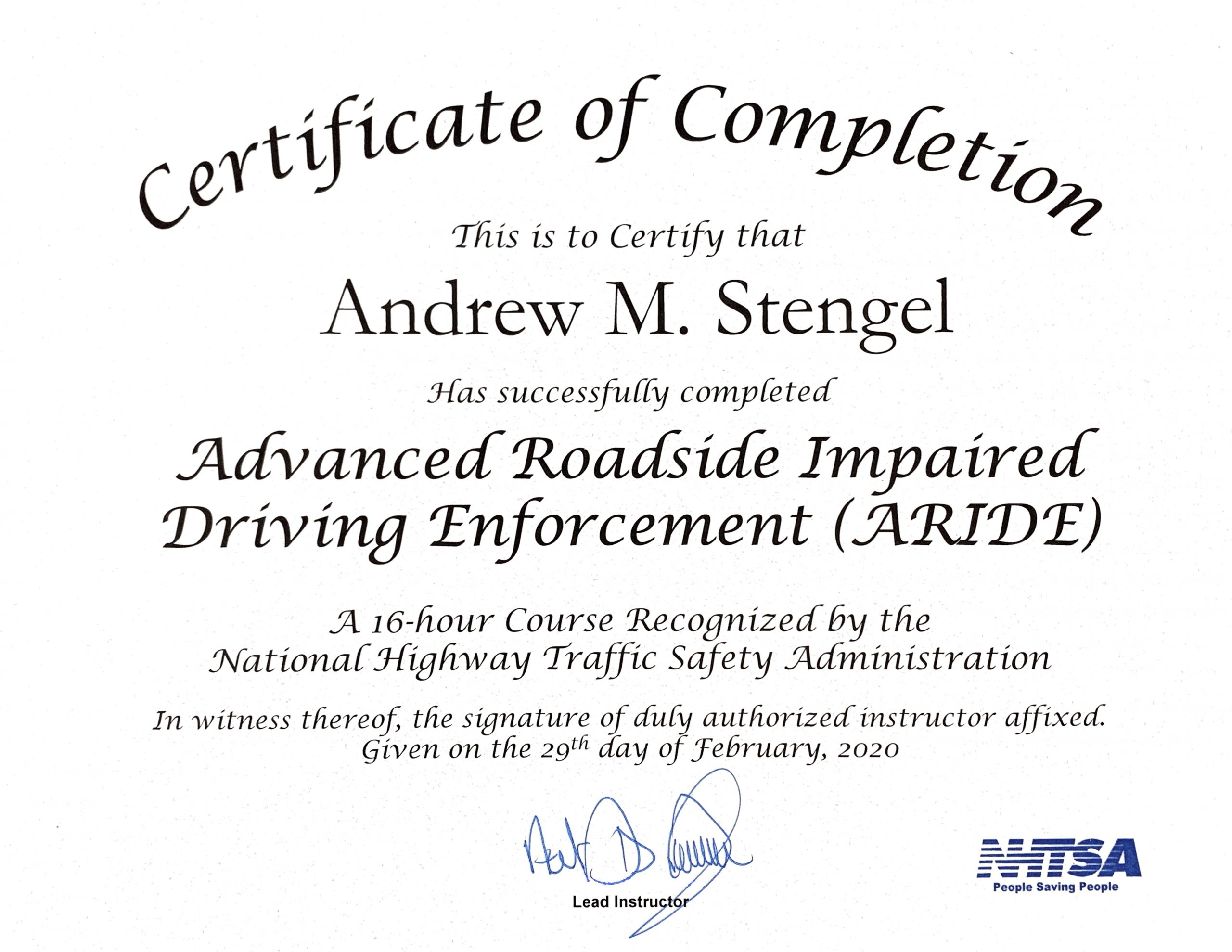 NYC DWI and DWI Drugs Advanced Roadside Impaired Enforcement (ARIDE) Certificate